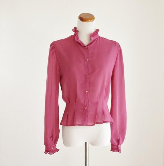 Vintage 80's Blouse -- Pink Mauve Button Down -- Sheer Ruffles & Pleats -- Medium