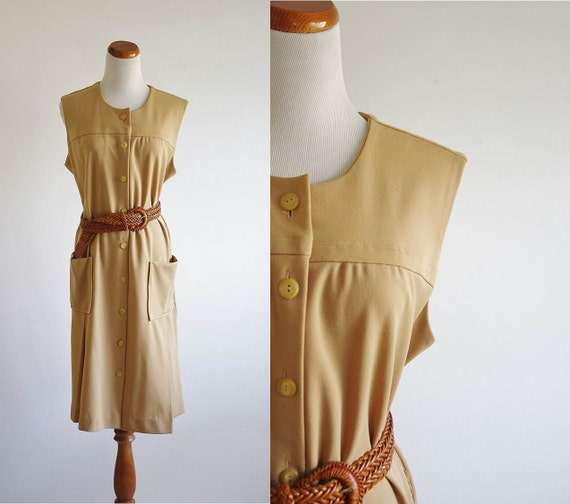Vintage Dress -- 70s Smocked Yellow Beige -- XL