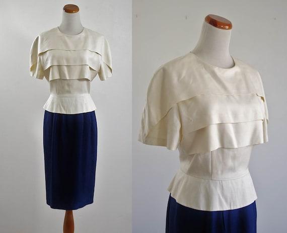 Vintage Silk Dress -- Cream & Navy Blue Tiered Dress -- Medium