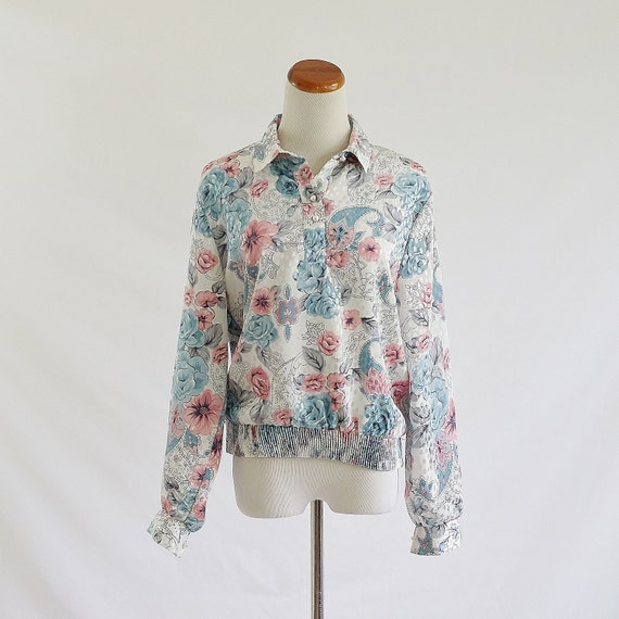 Vintage 80s Blouse, Blue & Pink Top, Metallic Floral with Polka Dots Blouse, Collared Blouse, Long Sleeve Blouse, Pullover Top, Large