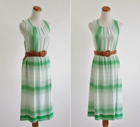 Vintage Striped Dress -- Chiffon Sleeveless Summer Dress -- Green and White Stripes -- Scoop Neck Dress -- Small
