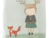 Children Wall Decor - Red Fox and Deer Girl Cute Illustration Print