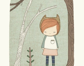 Woodland Art Print - Autumn- with Livey Bear Girl in the Woodlands