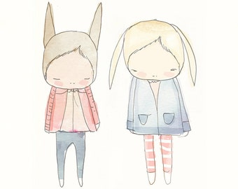 Children Decor- Fashionista Rabbit Friends - Floppy Ears