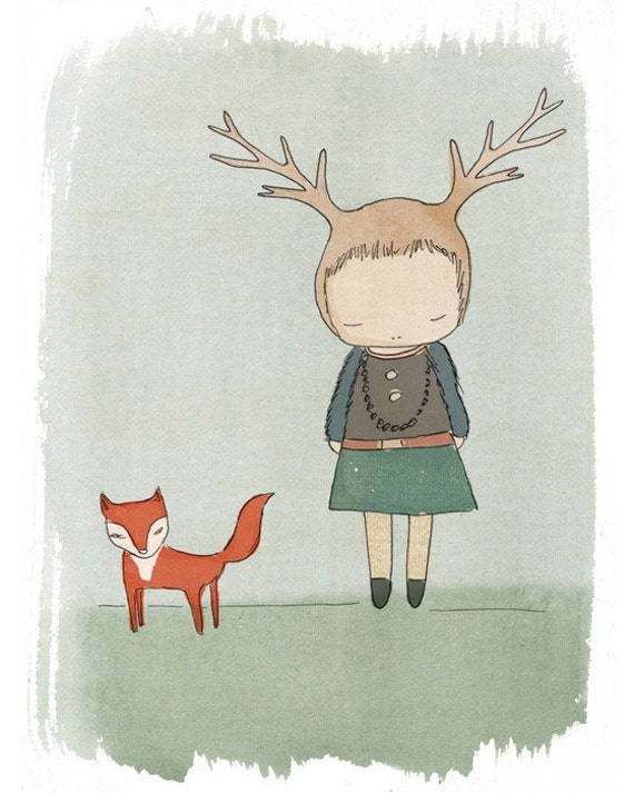 Whimsical Art- Deer Art Print with Red Fox - Child decor