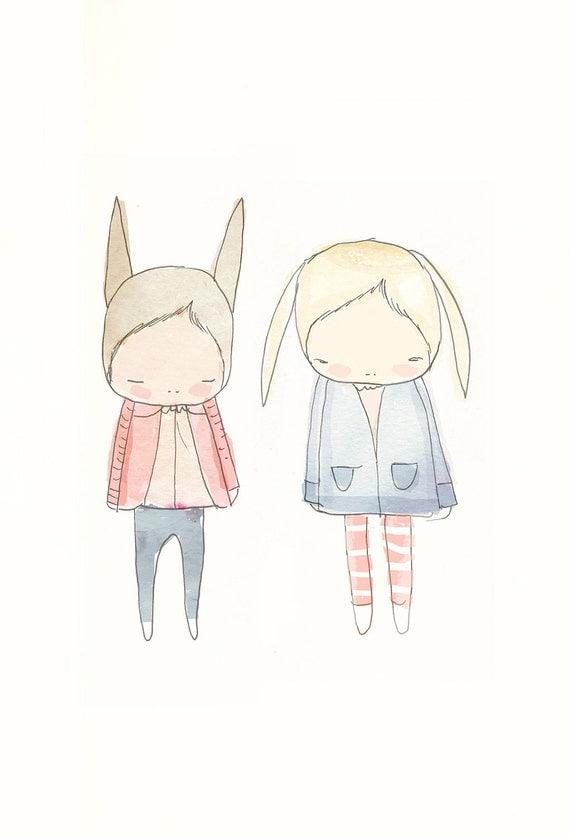 Children Decor- Fashionista Rabbit Friends - Floppy Ears