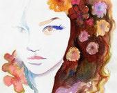 Archival Prints. Watercolor Illustration Print, Fashion Illustration. Titled:  C est Magique