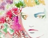 Archival Watercolor Prints, Print of Watercolor Fashion Illustration,  Fashion Sketch. Fashion Art Titled: Flower Headdress Gemma