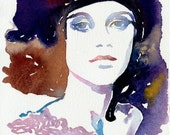 Print of Watercolor Portrait - Marion Cotillard, Fashion Illustration.