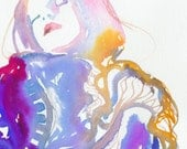 Print of Watercolour Fashion Illustration. titled - couture ink 12