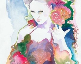 Fashion Illustration, Watercolor Fashion Print, Watercolor Painting, Fashion Wall Art, Fashion Poster, Flowers Fashion, watercolor flowers