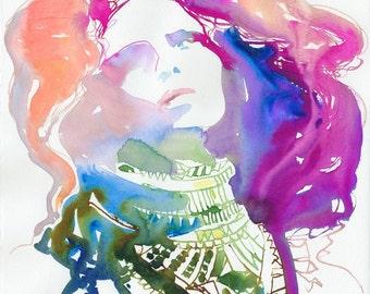 Fashion Illustration, Fashion Watercolor Print, Cate Parr, Fashion Poster, Fashion as art, Fashion Gift, Fashion invite art, Nico