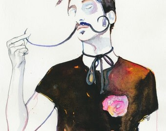 Archival Prints of Watercolour Fashion Illustration. Titled - Dali's Rose