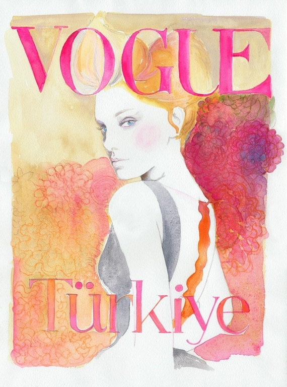 "Stampa di illustrazione di moda acquerello 13 ""19"". Titolo - Vogue Turchia."