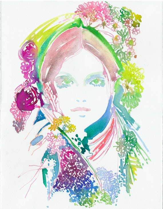 Print of Watercolour Fashion Illustration by Cate Parr. Watercolor painting print Titled - Foris for Earth Day