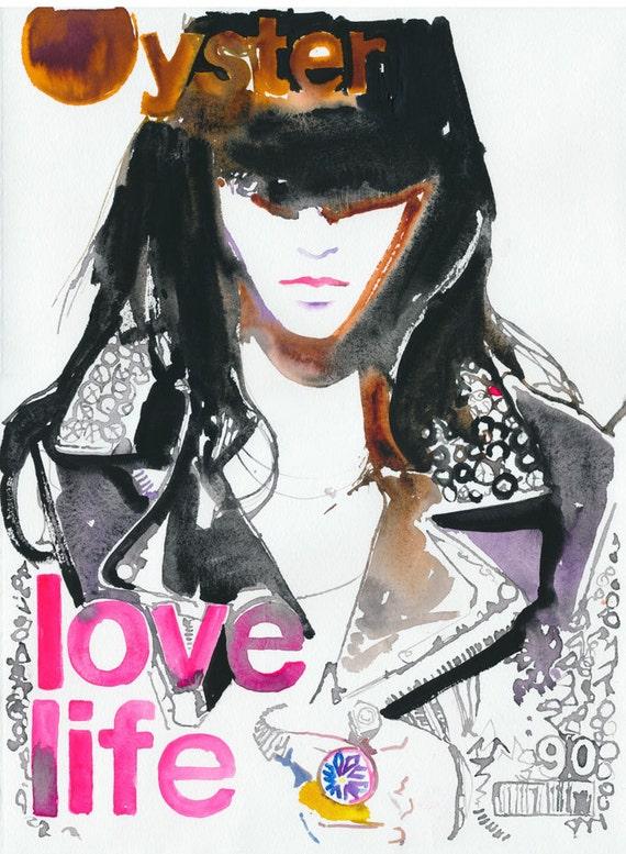Original Watercolor Painting, Fashion Illustration - Numero Magazine LOVE