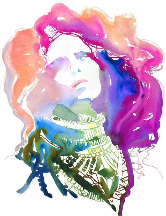 Archival Fashion Art Prints, Watercolor Fashion Prints.  Titled: Nico