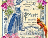 Printable Image with Vintage Paris Design, French Ephemera Digital Background