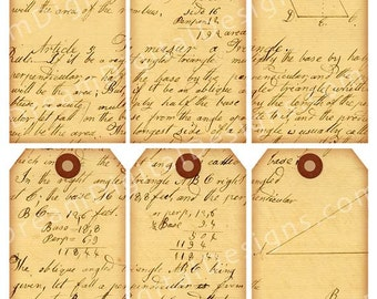 Printable script text, Tags, Digital Collage Sheet, Handwritten, Aged Paper, Hang Tags, Digital Ephemera, Tag Download