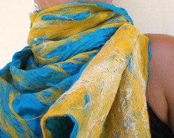 nuno felted scarf -waterfall-