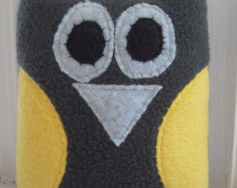 Gray and Yellow Tooth Pillow - Owl Tooth Fairy Pillow - Grey and Yellow Plush Owl