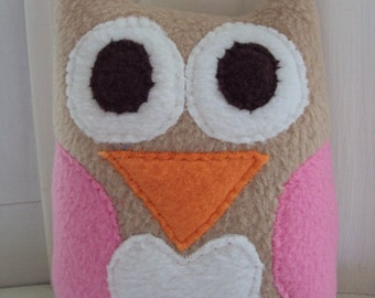 Tan and Pink Owl Plushie - Stuffed Owl Pillow - Love and Nature Owl