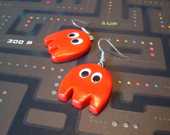 Pac Man Earrings:  Blinky the Ghost (Ready to Ship)