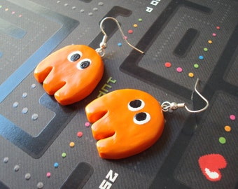 Pac Man Earrings:  Clyde the Ghost (Ready to Ship)