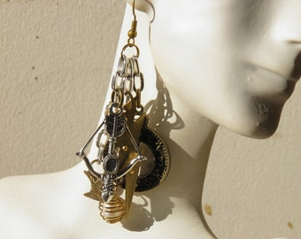 Steampunk Earrings, Bird Earrings, Sterling Silver and Hand Wire Wrapped Vintage Pearl Jewelry, Steampunk Assemblage Jewelry, Pearl Earrings