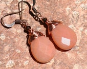 Wire Wrapped Earrings, Peach Earrings, Natural Stone Earrings, Pink Aventurine Earrings, Copper Earrings, Bohemian Earring, Handmade Earring
