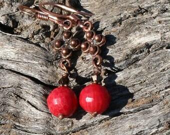 Coral Earrings, Flower Earrings, Copper Earrings, Orange Earrings,  Red Earrings, Handmade Earrings