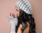 SALE 10% Silver Fairy  Elegant crochet beret hat in light grey and white