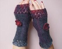 Feminine Crochet Fingerless Gloves in charcoal, purple and raspberry red