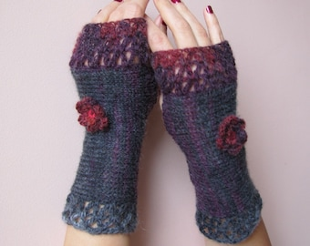 Fingerless Crochet Gloves Flowers Arm Warmers Winter Knitted Mittens Hand Wrist Warmers Roses Knit Gloves Gift for Her Womens Gray Gloves