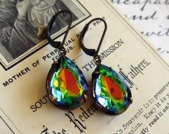 Wild Vitrail, Estate Style Pear Shaped Rainbow Glass Jewel Earrings