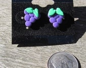 Delicious Grapes Polymer Clay Earrings - Post Style