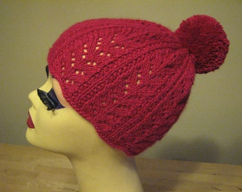 SALE - knitted raspberry red angora/silk lace hat with pom-pom - 40s inspired