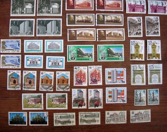 46 Vintage Postage Stamps, Global ARCHITECTURE 1974 - 1991, 2 each of 23 different designs STAMP SPECIAL: Any 3 sets for 12 Dollars