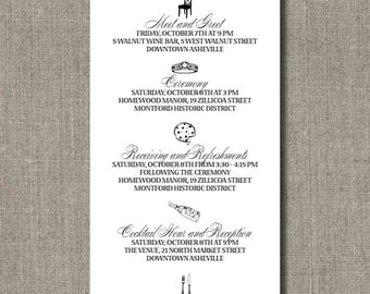 Custom Agendas for Weddings, Events, Parties and More - You Choose Your Colors and Fonts - by Abigail Christine Design