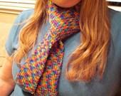 Skinny Multicolored Rainbow Knit Scarf