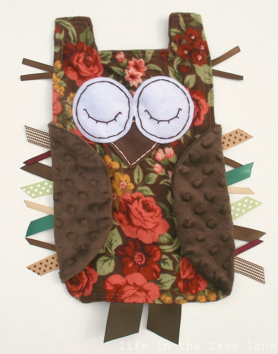 Minky OWL Blankie Roses Flannel Ribbon Tag Baby Blanket with Chocolate Brown Lovey Lovie Baby Gift
