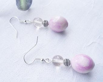 Pink Earrings - Pink Marbled Lampwork Earring Set
