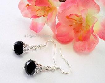 Ebony Crystal and Silver Filigree Drop Earrings