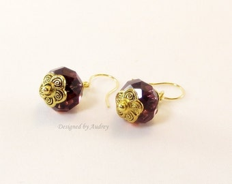 Purple Earrings - Sparkling Drop Earrings In Purple Swarovski Crystal and Gold