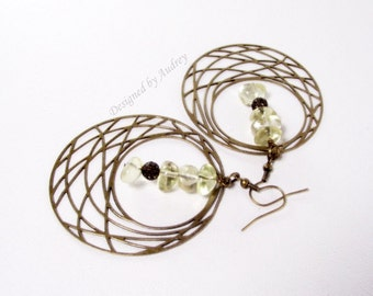Hoop Earrings - Dramatic Lemon Quartz Beaded Hoop Earrings in Antique Brass