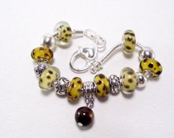 Brown and Yellow Animal Print Charm Bracelet