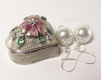 Pretty White Pearl Earrings Accented in Silver