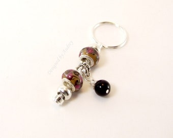 Keychain -  Black and Pink Lampwork Euro Charms