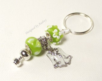 Key Ring - Green and White Charm Lampwork Beads with White Crystal Jacket Charm