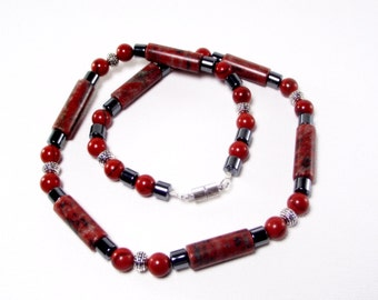 Red Necklace - Mens Red Sesame Jasper Necklace